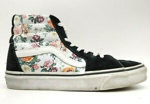 Vans Off The Wall Black Leather Floral Lace Up High Top Sneakers Shoes Women's 7