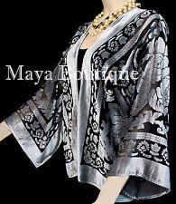 Maya Matazaro Silver Gray Jacket Kimono Burnout Velvet Short No Fringe