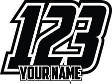 4x CUSTOM NUMBERS AND NAME RACE VINYL STICKERS DECALS DIRT BIKE MOTO SUPERMOTO