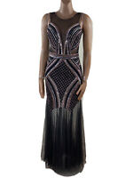 LACE AND BEADS Black Metallic Sequin Fishtail Gown Gatsby Deco Glam Size S (10)
