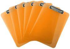 Plastic Clipboard Transparent Letter Size Low Profile Clip (Pack of 6) (Orange)