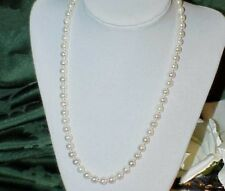 "14k Clasp GENUINE CULTURED 6.5 mm PEARL NECKLACE 18"" 14K GOLD CLASP Vintage"