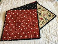 Patchwork Quilt Table Runner, Star Prints, Navy Blue, Cranberry, Beige, Handmade