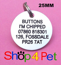 Pet ID Tag 25mm Aluminium Dog or Cat Tags Engraved Free with Blackened Engraving