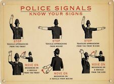 Police hand signals sign 20x30cm metal reproduction vintage wall plaque
