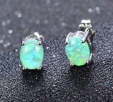 18K White Gold Filled Green Fire Opal Oval Stud Earrings 7mm