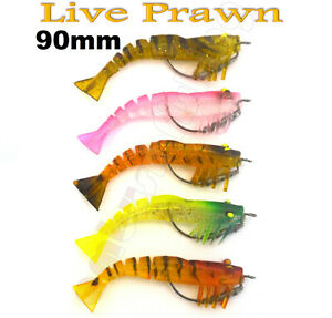 5x Live Prawn Lures Shrimp Soft Plastic 90mm 9g Fishing Lure BREAM BASS FLATHEAD