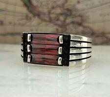 925 Sterling Silver Red Garnet Gemstone Mens Ring HandMade Turkish Ottoman