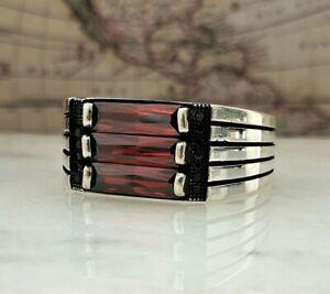 Solid 925 Sterling Silver Red Garnet Gemstone Mens Ring Handmade Ottoman Style