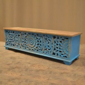 MADE TO ORDER INDIAN HANDMADE JALI Wood Carved Chest Box Coffee Table Blue Trunk