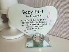 Baby Girl Grave Ornament Memorial Tribute Heart Plaque with Tealight Holder