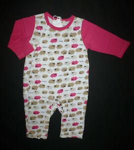 NWT iBaby Girls Sheep Pink Long Sleeve Romper Jumpsuit Sleeper 0-3 M Easter