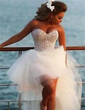 New Sexy Beaded Hi-Low Beach Wedding Dresses Sweetheart Bridal Gowns Plus Size