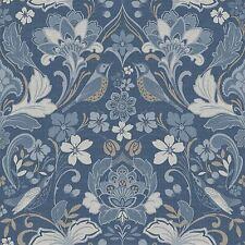 Arthouse Folk Floral Denim Azul 676002 Wallpaper Pájaro Flores Damasco Tejido Look