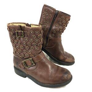 Youth FRYE Jenna Disc Biker Boot Brown leather Sz 1.5