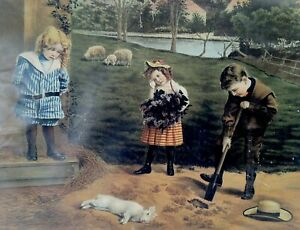1900's Three Children Burying A Dead Rabbit Fritz W Guerin Print Very Compelling