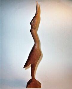 Old EGRET BIRD Hand Carved Wood Art Sculpture Statue Figurine Vintage Antique VG