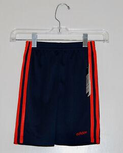 NWT Adidas Little Boys Navy Blue & Orange 3-Stripe Sport Shorts sz 4 5