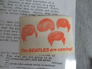 """Beatles VINTAGE LATE 1963 """" BEATLES ARE COMING """" STICKER! 1st CAPITOL PROMO ITEM"""