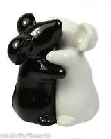 Hugging Mice Cute Novelty Ceramic Black White Salt Pepper Pots Shakers Set NEW