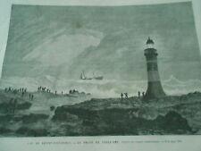 Gravure 1867 - Cap de Bonne Espérance Le Phare de Table Bay