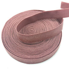 """5yds 3/8"""" Solid Fold Over Elastics Spandex Satin Band Lace Sewing Trim PaleMauve"""