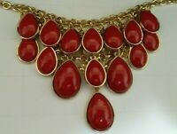 Charming Charlie Christmas Red Bib Necklace Gleaming Gold-tone Statement