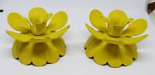 Vintage Pair Mid Century Lenox Yellow Tole Metal Enamel Flower Candle Holders