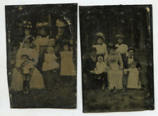 Tintype Photos Outdoors Ladies With Great Hats, Set Of 2, 1/6 Plate