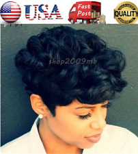 Women Curly Short Wigs Black Brown Pixie Cut Synthetic Hair Wigs for Black Women