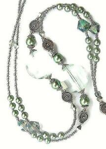 "Crystal & Sea Green Pearl Beaded Magnetic Breakaway Badge ID Key Lanyard 18""drop"