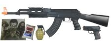 AK47 Airsoft Electric Rifle AEG Semi and Full Auto - TACTICAL BLACK -