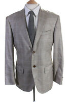 Napoli Mens Long Sleeve Two Button Plaid Print Jacket Tan Brown Silk Size 44