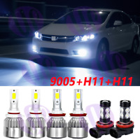 For Honda Accord 2006-2012 LED Headlight High Low Beam Fog Light Bulbs Combo Kit