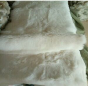100% Rabbit SKIN Fur Throw Blanket Furry Soft Decoration Reprocessed White
