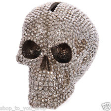 Silver Jewelled Skull Money Box Ornament 9 cm High Gothic Gift Present
