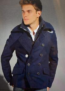 Superdry Mens Smart Classic Navy Blue Winter Pea Coat Large 42-44 RRP £164.99