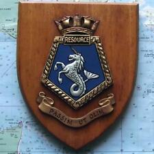 Vintage RFA Resource HMS Painted Royal Navy Ship Badge Crest Shield Plaque C