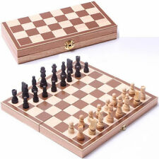 Vintage Wooden Pieces Chess Set Folding Board Box Wood Hand Carved Kids Toy .._