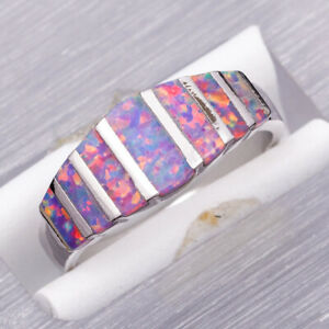 Lavender Purple Fire Opal Silver Jewelry Band Ring Size 7 8 9 10