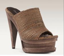 Elizabeth and James Woven Leather Sandal Fashion Platform Slide $350 Bronze 9