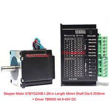 Stepper Motor 57BYG250B 1.2 N.m L 56mm OD shaft 6.35mm + Driver 0.5-4A DC 9-40V