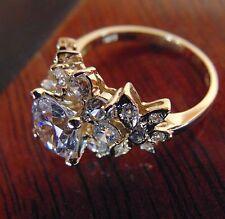 14K Yellow Gold Round Man Made Diamond Engagement Ring 4 5 6 7 8 9 10