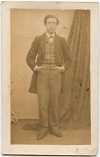 YOUNG MAN WITH NICE SUIT AND POCKET WATCH VINTAGE CDV
