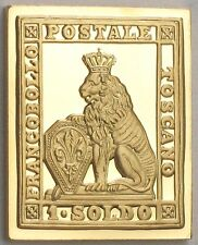 Tuscany (of Italy) 1851 Stamp 'Crowned Lion' 24K Gold on .925 Silver Bar +Paper