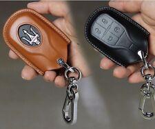 Maserati Quattroporte Ghibli Levante leather key chain cover case shell BLACK