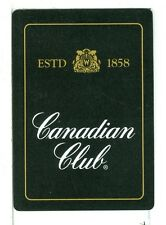 "Single Wide Playing Card, ""Canadian Club"" Whiskey Black Bkgd, inner gold brdr"