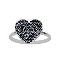 Genuine Black Spinel Gemstone Cluster Statement Love Heart Shape Ring 925 Silver