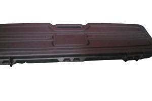 "Plano Black Double Long Rifle Hard Case Lock Box Foam Padded Fits 2 43"" x 10"""