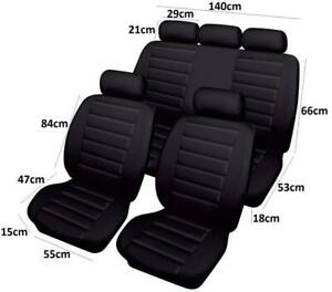 Set Of 4 Black Airbag Leather Look Seat Cover Protector 2Y Warranty For Daewoo
